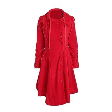 Damen Mantel ,Frashing Damen Winter Herbst Mantel Steppjacke Kapuzenjacke  Übergangsjacke Trenchcoat Zweireihig Wollmantel Gesteppt Parka 7a8d701652