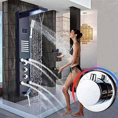 FDGBCF Brushed Nickel Stainless Steel 5-Function Waterfall Rain Shower Panel with Massage System Tub Spout and Handshower Shower Column ()
