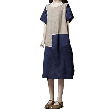 Saihui - Vestidos Sueltos de Verano para Mujer, Estilo Casual, Estilo Vintage, Redondo