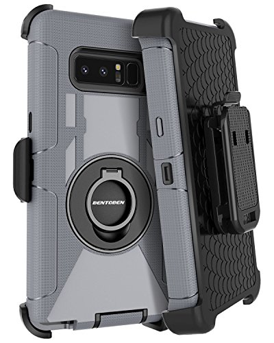 Samsung Galaxy Note 8 Case Kickstand BENTOBEN Swivel Ring Belt Clip Heavy Duty Shockproof Full Body Rugged Bumper Hybrid Holster Protective Tough Phone Case for Samsung Galaxy Note8, Gray/Black