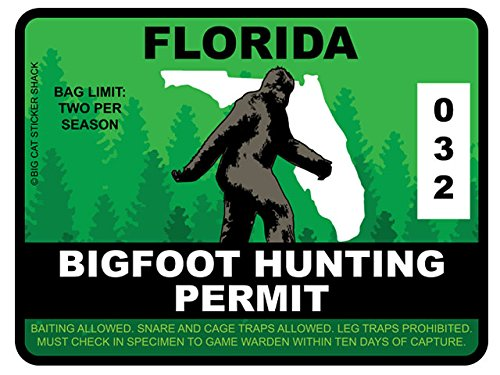 Bigfoot Hunting Permit - FLORIDA (Bumper Sticker)