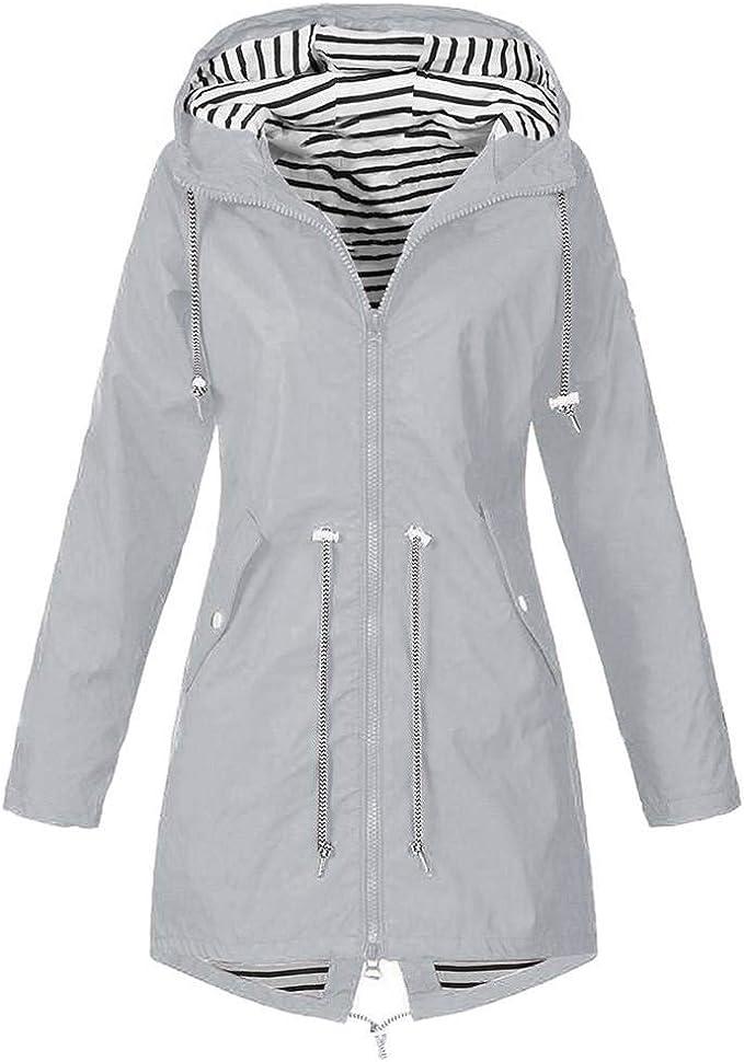 Shobdw Damen Regenjacke Regenmantel übergangsjacke Mantel Mit Kapuze Damen Leichte Kurze Jacke Mit Atmungsaktiv Futter Herbst Wasserdichte übergangjacken übergröße Amazon De Bekleidung