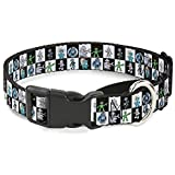 Buckle Down Robot Checkers Black/White Martingale Dog Collar, 1'' Wide-Fits 9-15'' Neck-Small