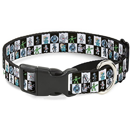 Buckle Down Robot Checkers Black/White Martingale Dog Collar, 1'' Wide-Fits 9-15'' Neck-Small by Buckle Down