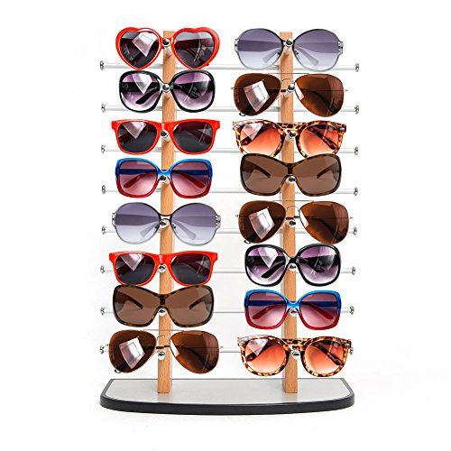Sunglass Display, Amzdeal Wooden look laminate Sunglasses Display Rack, Eyewear Display up to 16 - Stand Sunglass