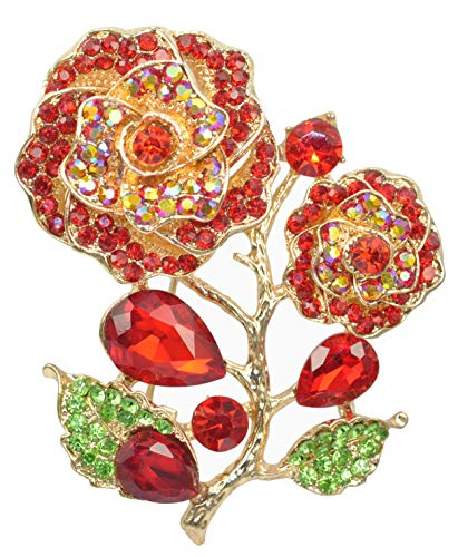 Red Love Rose Flower Pendant Crystal Rhinestone Brooch Pin Golden Tone BZ167 ()