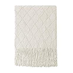 Bedroom Bourina Beige Throw Blanket Textured Solid Soft Sofa Couch Cover Decorative Knitted Blanket, 50″ x 60″, Beige farmhouse blankets and throws