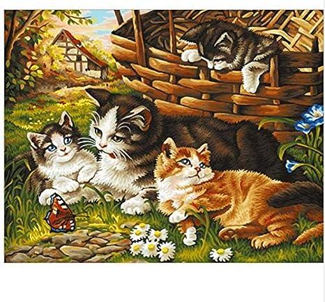Sin Marco Gatos Animales Pintura Diy Por Números Moderno Arte De La Pared Cuadro Pintura Por Números Caligrafía Pintura Hogar Arte 40X50Cm: Amazon.es: Hogar