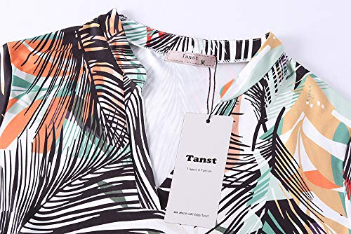 Tanst Tunic Tops for Women 3/4 Sleeve, Notch V Neck Tshirt Dressy Blouse Comfortable Flattering Floral Shirt Flower Loose Fit Fall with Leggings and Boots Green M by Tanst (Image #2)