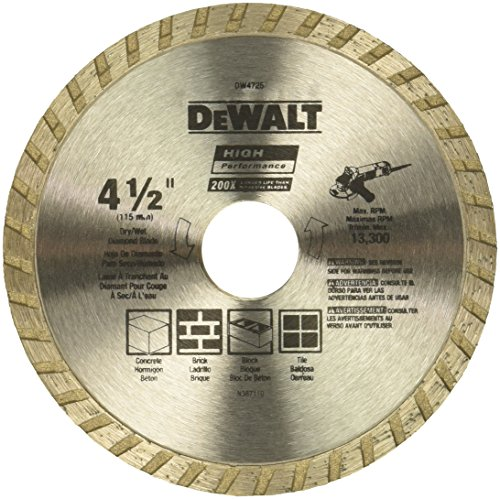 (DEWALT DW4725 High Performance 4-1/2-Inch Dry Cutting Continuous Rim Diamond Saw Blade with 7/8-Inch Arbor for Masonry)