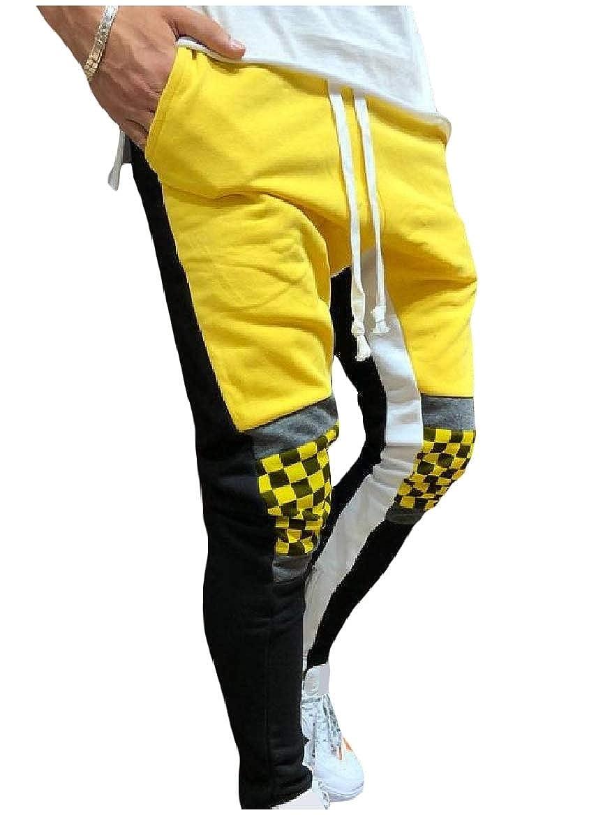 Sayah Mens Gym Plaid Color Splice Mid Rise Hip Hop Running Trousers
