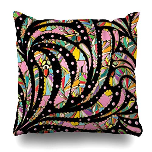 Hitime Throw Pillow Cover Figure Paisley Floral Multicolor Vintage Polka Dots Flowers Flourish Stitch Effects Design Pattern Decorative Pillowcase Square Size 20 x 20 Inches Home Cushion Cases ()