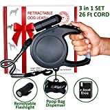 DOGE APPROVED Retractable Dog Leash 26 Foot Extra Long Cord - Dog Leash Retractable for Medium Large Breed - Best Heavy Duty Big Pet Retractable Leash with LED Light and Bag Dispenser