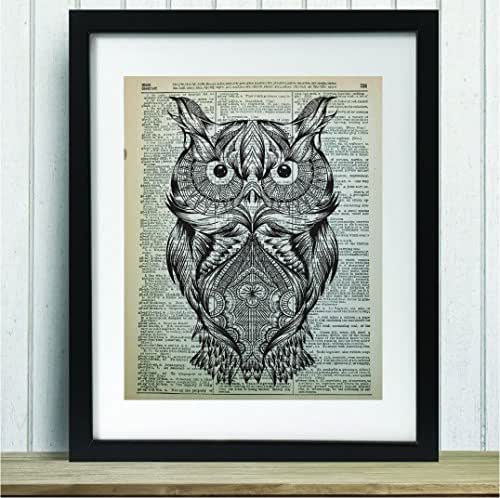 Upcycled Vintage Dictionary Art Print - Hand Drawn Owl Print - 8x10 Unframed