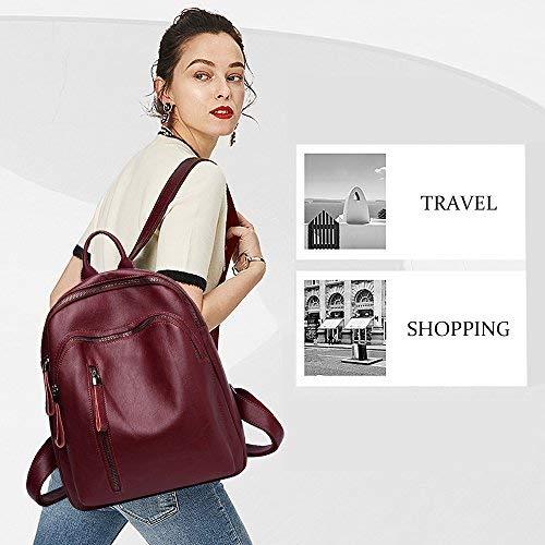 Waterproof Leather Pu Backpack E Women Fashion Wine Tibes Red for twaEnqx5