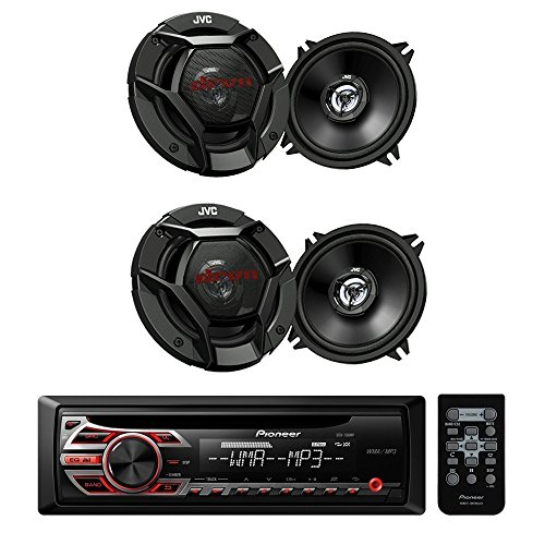 Pioneer DEH-150MP Car Audio CD MP3 Stereo Radio Player, Front Aux Input with JVC 6.5 Inch (300 watts peak power) 2-WAY Car Audio Speaker (Black) High Output Sound For Factory Upgrade - BUNDLE PACKAGE
