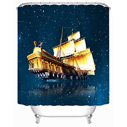 Cheerhunting Ship Shower Curtain, Pirate Ship Flying Upon The Sea at Starry Night, Galaxy Theme, 72