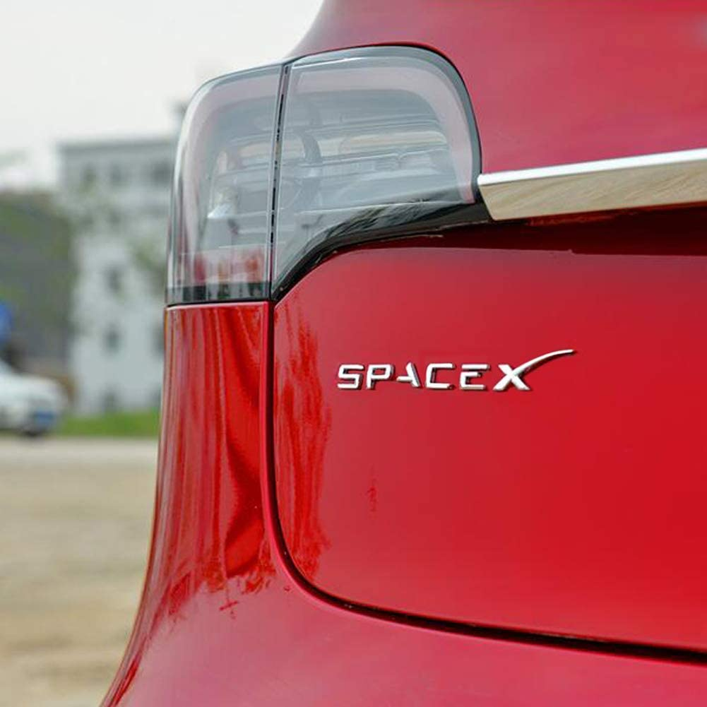 Spacex Decals 3D Metal Car Rear Trunk Emblem Sticker Badge Decals Compatible Tesla Model 3 Decorative Accessories