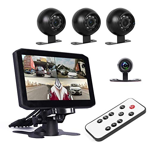 Truck Dash Cam Backup Camera Recorder DVR 7.0'' Quad Split Monitor with Front/Rear/Side 4CH Cameras Infrared Night Vision Waterproof Rear View for Trailer/Bus/RV/Pickups/Camper