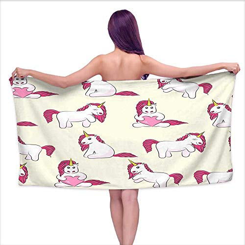 (Denruny Bath Towel bar Seamless Pattern with Cute Magical Unicorns Background for Kids Design Pattern can be Used for Wallpaper Web Page Surface Textures Package,W28 xL55 for Youth Girls Cotton)
