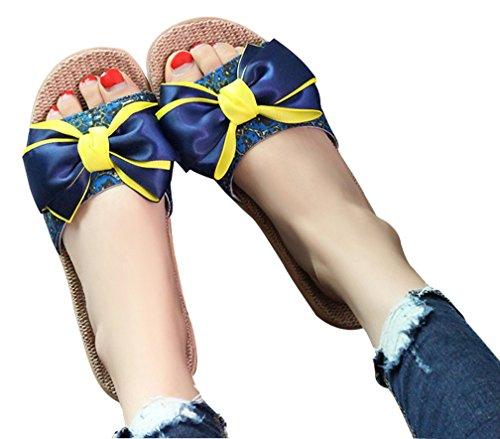 Cattior Dames Zomer Grote Boog Indoor Outdoor Slippers Huis Slippers Blauw