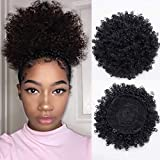 Synthetic Short Afro Kinky Curly Pony Tail High Puff Afro Ponytail Drawstring Ponytail (Black-1b)