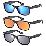 Gamma Ray Polarized UV400 Classic Style Sunglasses with Mirror Lens, 3 Pack - Matte Black
