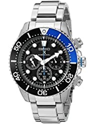 Seiko Mens SSC017 Prospex Analog Japanese Quartz Solar Stainless Steel Dive Watch