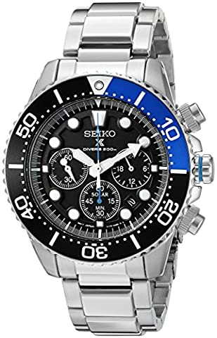 Seiko Men's SSC017 Prospex Analog Japanese Quartz Solar Stainless Steel Dive Watch (Chronograph Seiko)