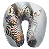 U-Shaped Neck Pillow Colourful Zebra Pillows Soft Portable For Travel Reading Sleeping