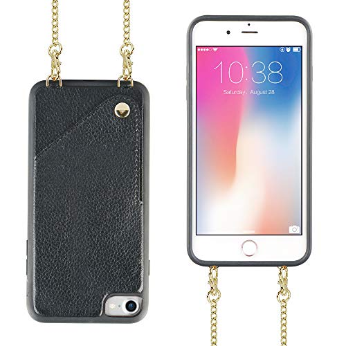 iPhone 7 Wallet Case, iPhone 8 Wallet Case, JLFCH iPhone 7 Crossbody Chain Purse with Card Slot Holder Full Frame Protection Case for Apple iPhone 7/8 4.7 inch - Black