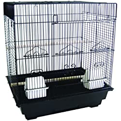 "YML A5824 3/8"" Bar Spacing Square Top Small Bird Cage, Black, 18"" x 14"""