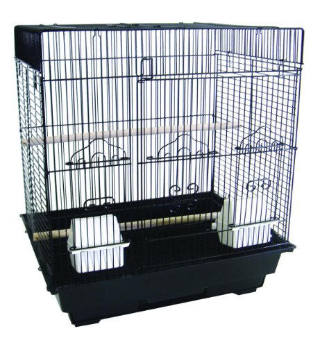 YML 3/8-Inch Bar Spacing SquareTop Small Bird Cage, 18-Inch by 14-Inch, Black by YML