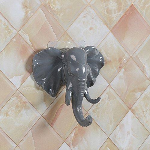 Elevin(TM) Elephant Head Self Adhesive Wall Door Hook Hanger Bag Keys Sticky Holder (Gray)