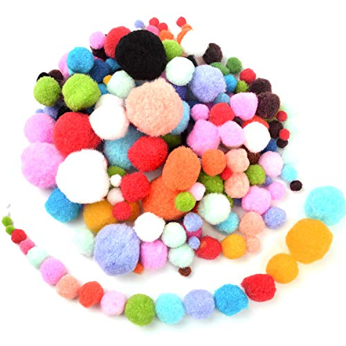 BronaGrand 200 Pieces Pompoms for Craft Making and Hobby Supplies,6 Sizes, Assorted Colors