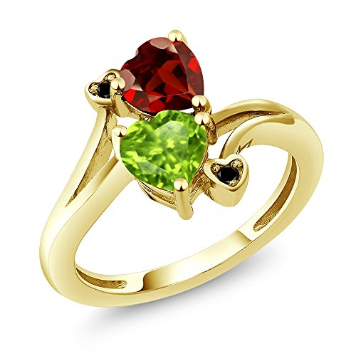 1.76 Ct Heart Shape Green Peridot Red Garnet 10K Yellow Gold Ring -
