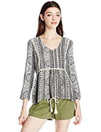 Roxy Women's World Turning Top Printed 3/4 Sleeve Top