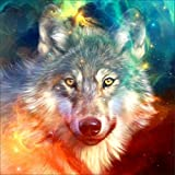 Peyan Wolf Starry Sky 5D Diamond Painting Kits Full Drill Crystal DIY Wall Sticker 3D Diamond Mosaic Cross Stitch Embroidery 12x12 inches