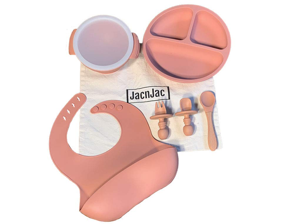 Silicone Baby Feeding Set Eco Friendly BPA Free Includes Plate, Baby Spoon, First Stage Fork Spoon, Adjustable Bib Suction Bowl Sold with a Cotton Bag