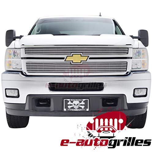 EAG Polished Aluminum Billet Grille Horizontal Overlay 3D for 11-14 Chevy Silverado 2500HD/3500HD