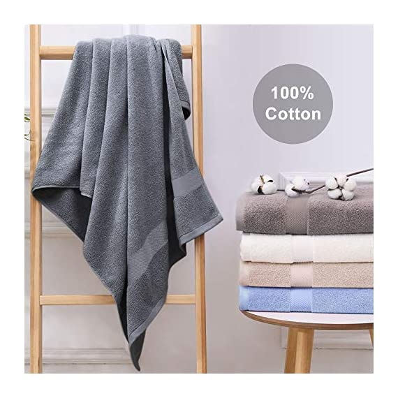 Wonwo 100% Cotton Bath Towels, 600 GSM Luxury 6 Piece Set - 2 Bath Towels, 2 Hand Towels, and 2 Washcloths - Gray - VALUABLE PACK & SUITABLE SIZE--Wonwo bath towel set comes with a convenient 6-piece set for home travel and fitness use. Provides users with all basic bathroom drying needs in one convenient bundle. It includes two bath towels (27x55 inches), two hand towels (13x28 inches), and two wash cloths (13x13 inches) appropriate for all ages. 100% COTTON--Towels are made of high quality natural cotton and have high absorbency. Enjoy the ultimate smooth experience and soft touch. Perfect for babies. The breathable plush is easier to dry. It's safe to use. COMFORTABLE & DURABLE--The bath towel set is 600 GSM, which makes them thicker, stronger, extra absorbent, and more comfortable than others. These towels are elegantly woven to produce an exquisite, high quality, and durable material. Double stitching on all hems insures extra durability. - bathroom-linens, bathroom, bath-towels - 51YILxEHwOL. SS570  -