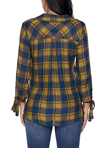 Astylish Women Casual Plaid V Neck 3 4 Long Sleeve Blouses and Tops Shirts Yellow Medium by Astylish (Image #6)