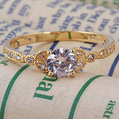 YAZILIND Gold Plated Round Cubic Zirconia Ladies Wedding Band Anniversary Ring by YAZILIND (Image #1)