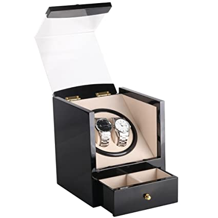 KAIHE-BOX Automatic Watch Winder with Double Watch Box with Drawer,5 colors&Material,