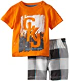 Calvin Klein Baby-boys Infant Tee with Plaided Shorts, Orange, 18 Months image