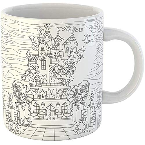 Coffee Cups Tea Mug Gift 11 Ounces Funny Ceramic Halloween Coloring Page Spooky Castle Pumpkins Witch Gothic Statues of Dragons Gifts For Family Friends Coworkers Boss -