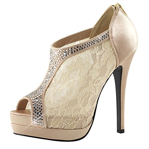 Heels-Perfect - Plataforma de material sintético mujer beige - Beige (Champagner)