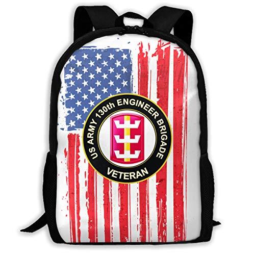 Mucup US Army 130th Engineer Brigade Veteran School Bookbag Outdoor Travel Rucksack College Backpack ()