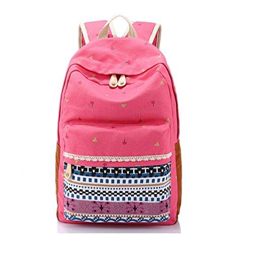 Inwagui Ladies Mens New Fashion Stile Etnico Floral Print Style Canvas Zaino Scuola Zaino Da Viaggio Borsa Casual Daypacks City Backpack For University Outdoor Red