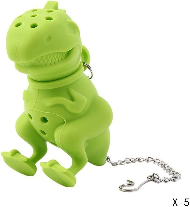 Green MAXGOODS Silicone Dinosaur Shaped Tea Infuser Loose Leaf Strainer Herbal Filter Diffuser